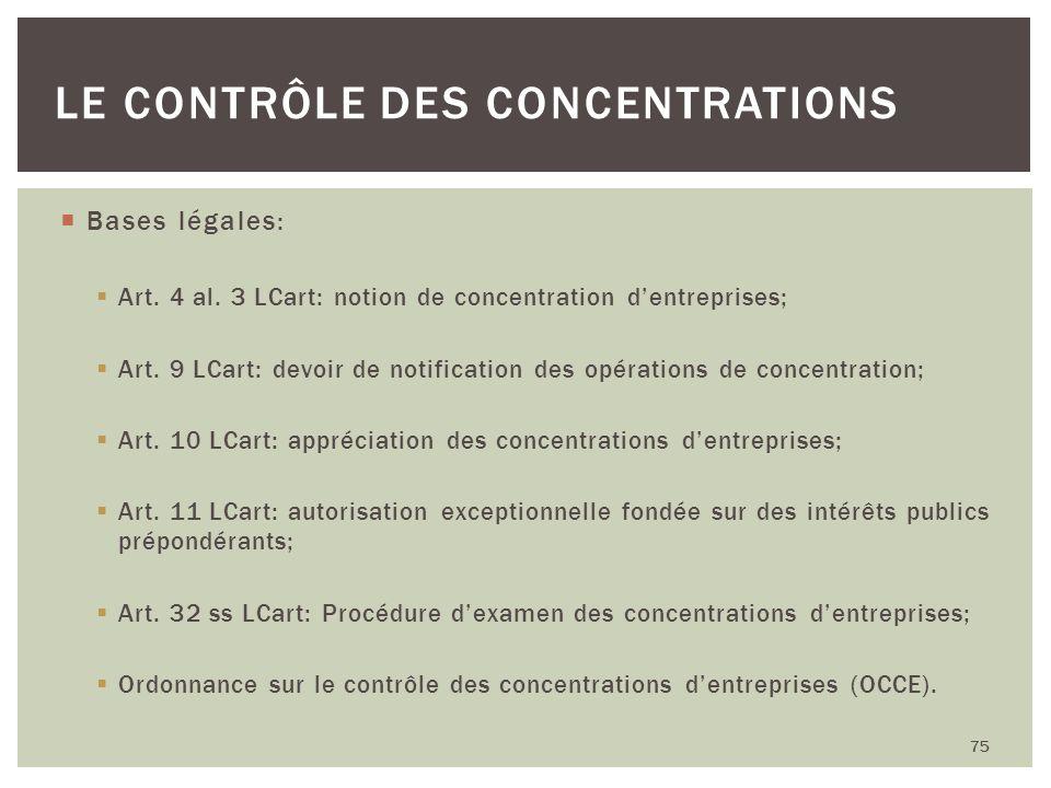 Bases légales: Art. 4 al. 3 LCart: notion de concentration dentreprises; Art. 9 LCart: devoir de notification des opérations de concentration; Art. 10