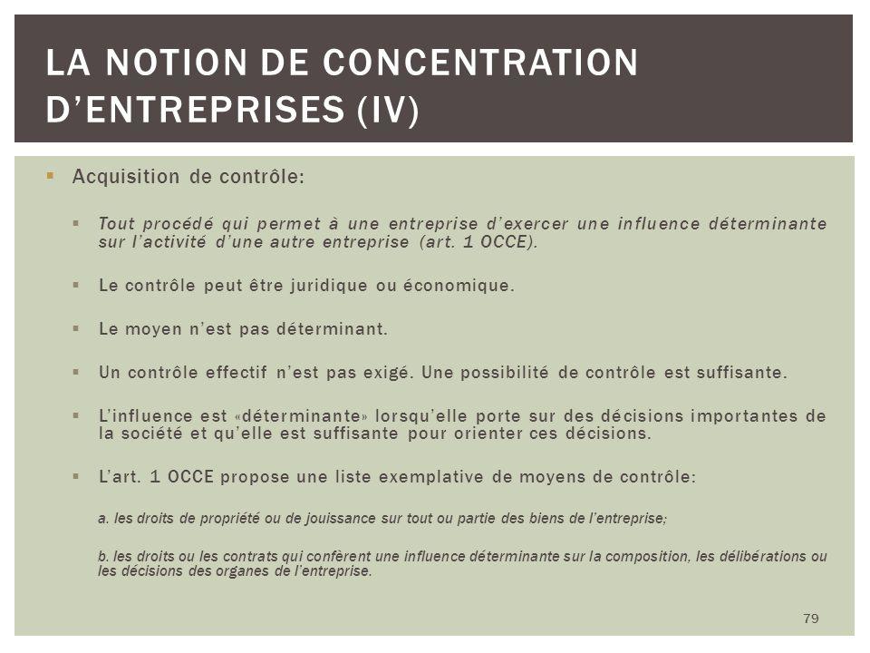Acquisition de contrôle: Tout procédé qui permet à une entreprise dexercer une influence déterminante sur lactivité dune autre entreprise (art. 1 OCCE