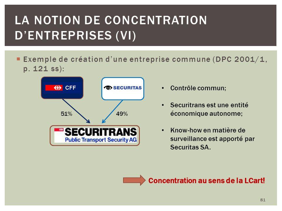 Exemple de création dune entreprise commune (DPC 2001/1, p. 121 ss): 81 LA NOTION DE CONCENTRATION DENTREPRISES (VI) 51% 49% Contrôle commun; Securitr