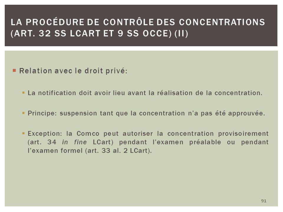 Relation avec le droit privé: La notification doit avoir lieu avant la réalisation de la concentration. Principe: suspension tant que la concentration