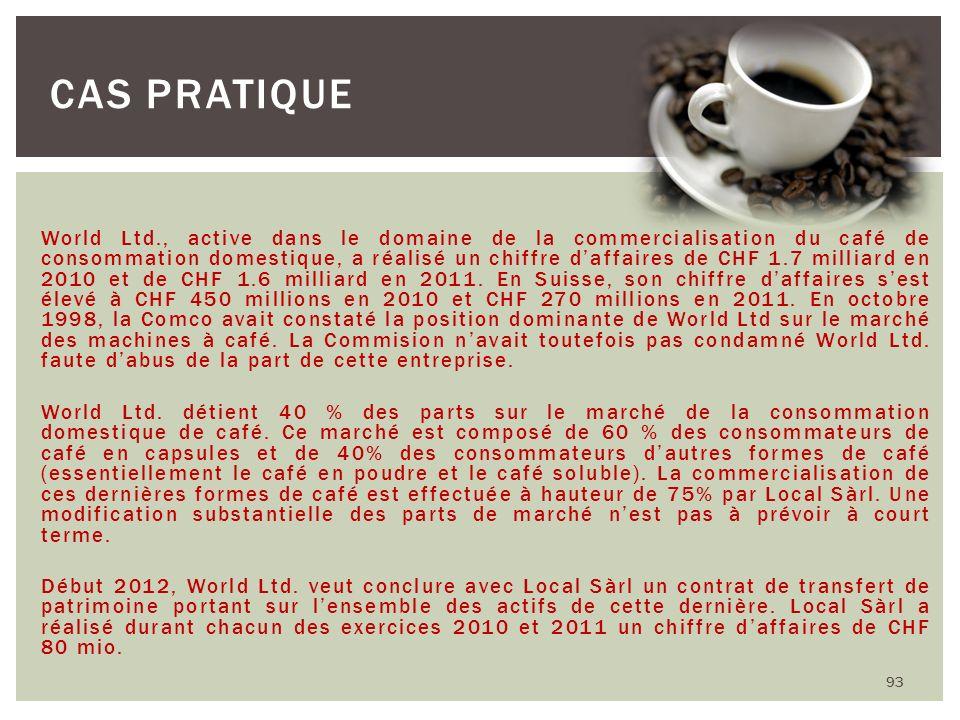 World Ltd., active dans le domaine de la commercialisation du café de consommation domestique, a réalisé un chiffre daffaires de CHF 1.7 milliard en 2