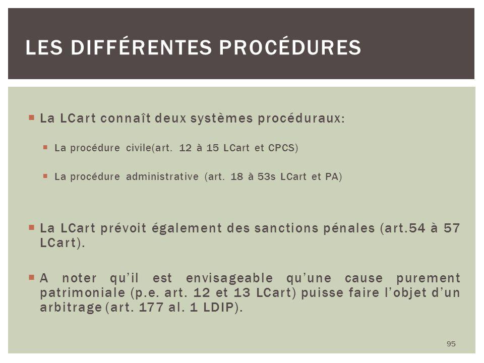 La LCart connaît deux systèmes procéduraux: La procédure civile(art. 12 à 15 LCart et CPCS) La procédure administrative (art. 18 à 53s LCart et PA) La