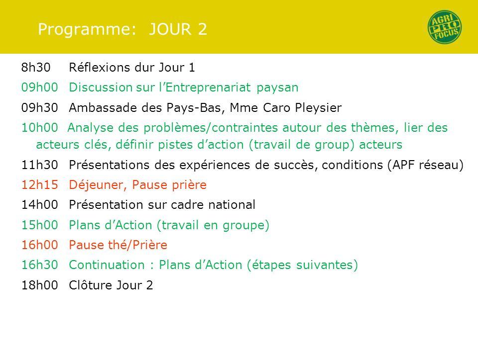 Programme: JOUR 2 8h30Réflexions dur Jour 1 09h00Discussion sur lEntreprenariat paysan 09h30Ambassade des Pays-Bas, Mme Caro Pleysier 10h00 Analyse de