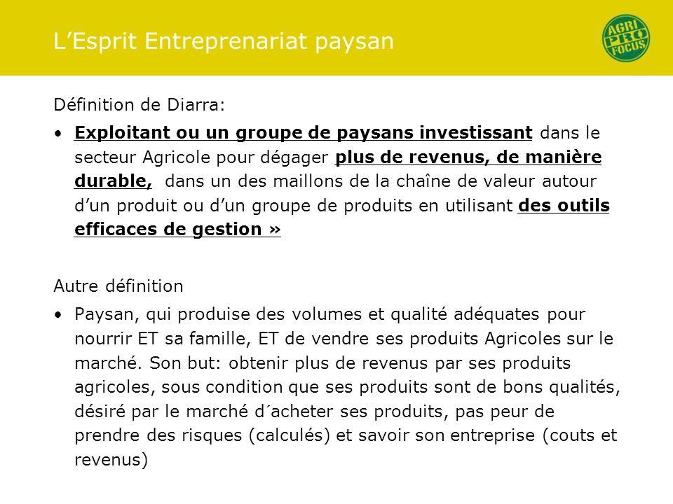 LEsprit Entreprenariat paysan Définition de Diarra: Exploitant ou un groupe de paysans investissant dans le secteur Agricole pour dégager plus de reve