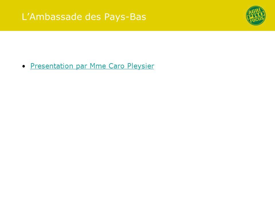 LAmbassade des Pays-Bas Presentation par Mme Caro Pleysier