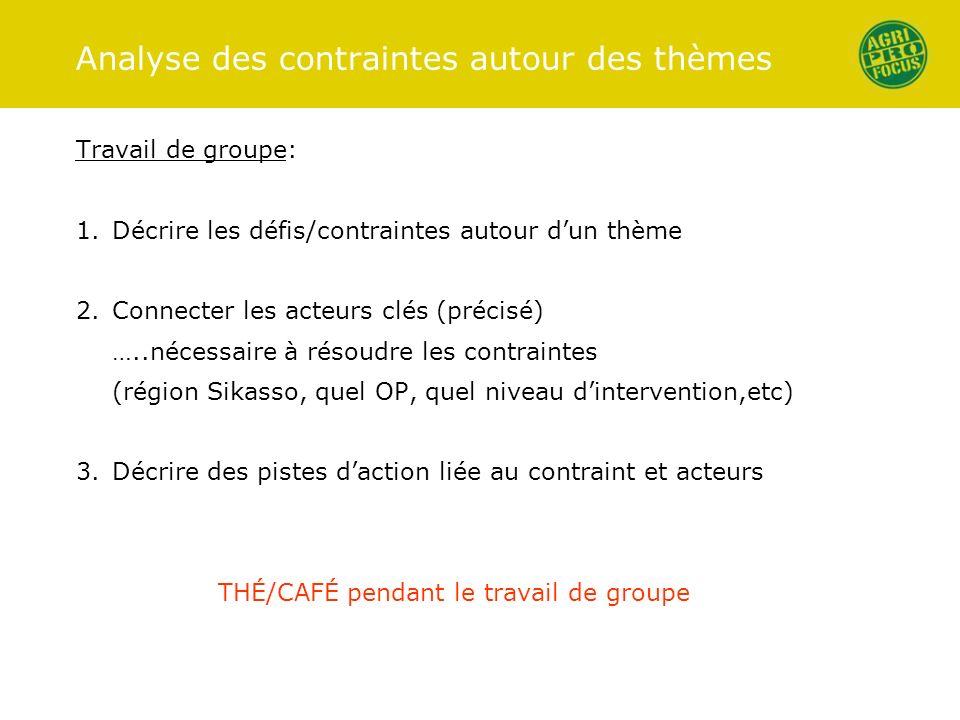 Analyse des contraintes autour des thèmes Travail de groupe: 1.Décrire les défis/contraintes autour dun thème 2.Connecter les acteurs clés (précisé) …