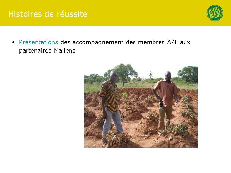 Histoires de réussite Présentations des accompagnement des membres APF aux partenaires MaliensPrésentations