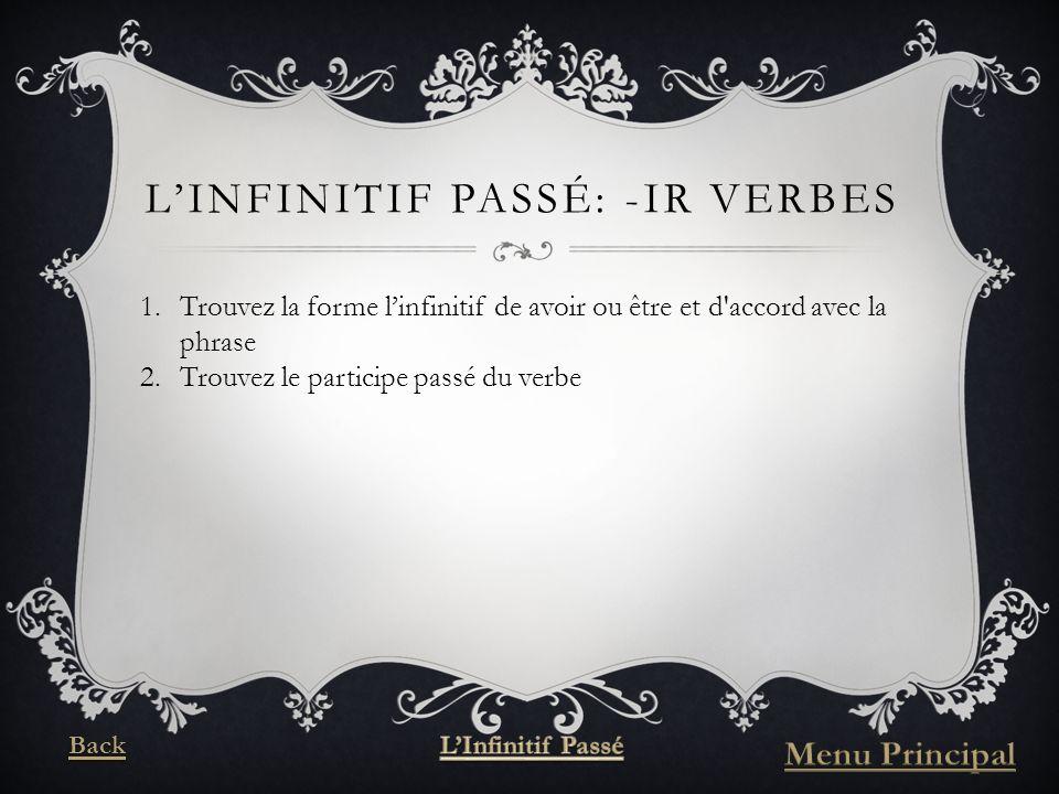 LINFINITIF PASSÉ: -IR VERBES 1.Trouvez la forme linfinitif de avoir ou être et d accord avec la phrase 2.Trouvez le participe passé du verbe