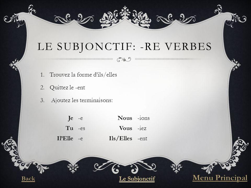 LE SUBJONCTIF: -RE VERBES 1.Trouvez la forme dils/elles 2.Quittez le -ent 3.