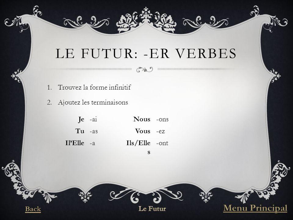LE FUTUR: -ER VERBES 1.Trouvez la forme infinitif 2.Ajoutez les terminaisons Je-aiNous-ons Tu-asVous-ez IlElle-aIls/Elle s -ont
