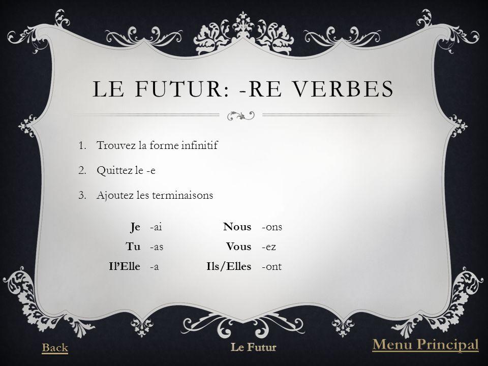 LE FUTUR: -RE VERBES 1.Trouvez la forme infinitif 2.Quittez le -e 3.Ajoutez les terminaisons Je-aiNous-ons Tu-asVous-ez IlElle-aIls/Elles-ont