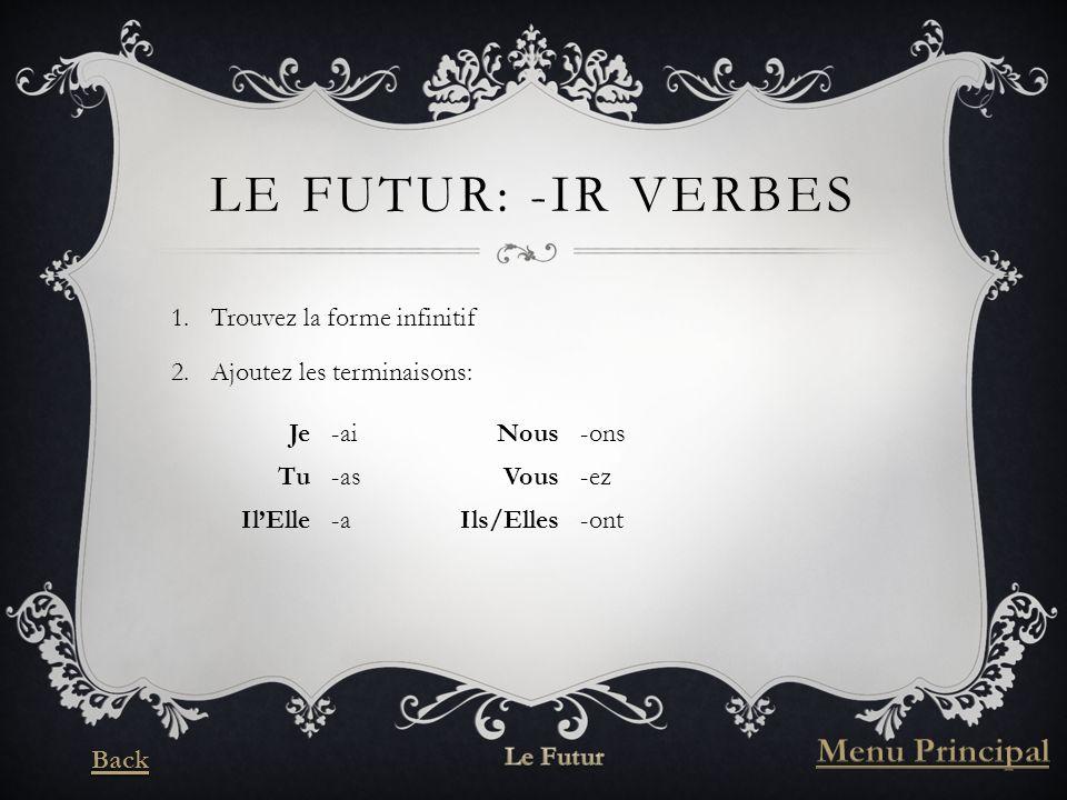 LE FUTUR: -IR VERBES 1.Trouvez la forme infinitif 2.Ajoutez les terminaisons: Je-aiNous-ons Tu-asVous-ez IlElle-aIls/Elles-ont
