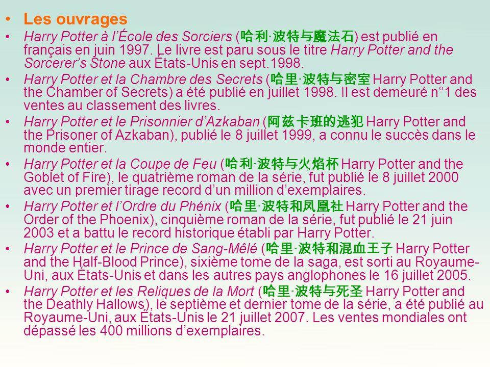 Les ouvrages Harry Potter à lÉcole des Sorciers ( · ) est publié en français en juin 1997. Le livre est paru sous le titre Harry Potter and the Sorcer
