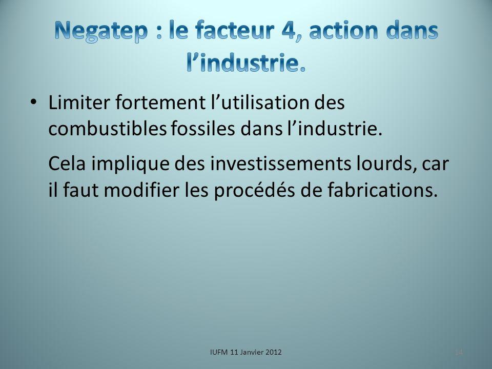 Limiter fortement lutilisation des combustibles fossiles dans lindustrie.