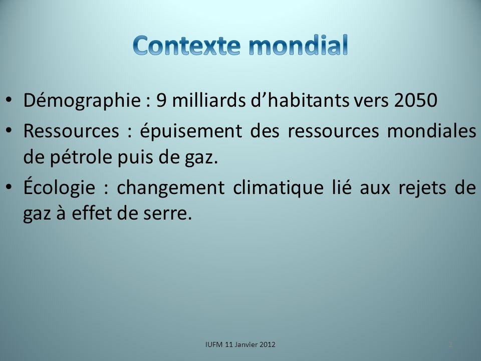 Démographie : 9 milliards dhabitants vers 2050 Ressources : épuisement des ressources mondiales de pétrole puis de gaz.