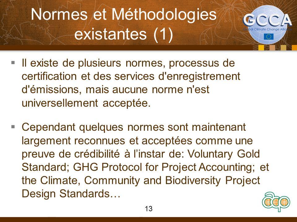 Normes et Méthodologies existantes (1) Il existe de plusieurs normes, processus de certification et des services d'enregistrement d'émissions, mais au