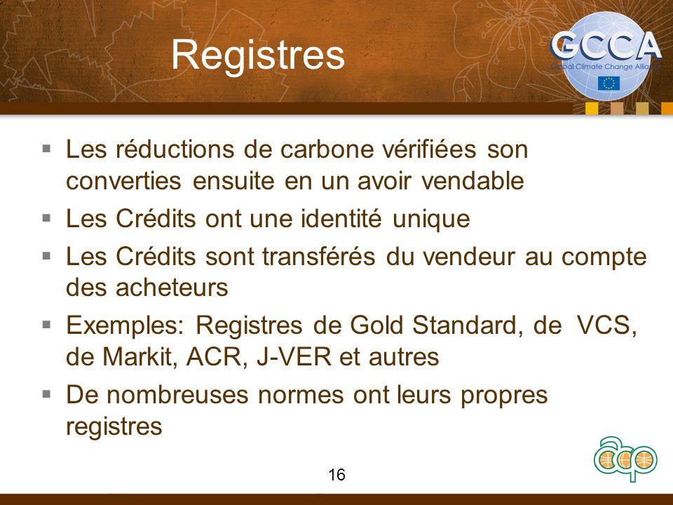Registres Les réductions de carbone vérifiées son converties ensuite en un avoir vendable Les Crédits ont une identité unique Les Crédits sont transfé