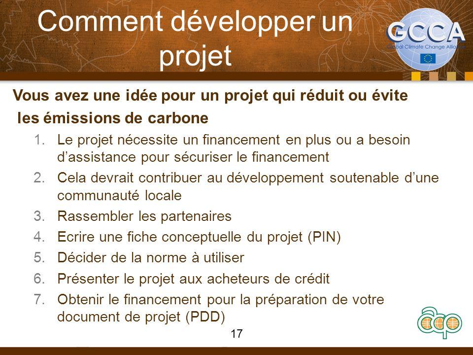 Comment développer un projet Vous avez une idée pour un projet qui réduit ou évite les émissions de carbone 1.Le projet nécessite un financement en pl