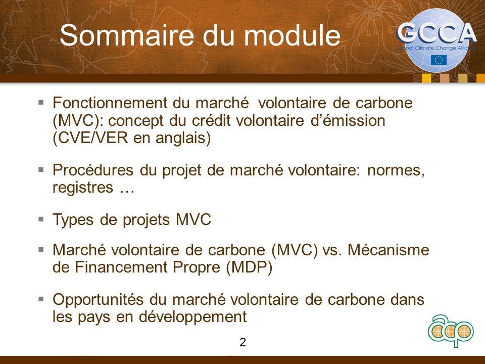 Sommaire du module Fonctionnement du marché volontaire de carbone (MVC): concept du crédit volontaire démission (CVE/VER en anglais) Procédures du pro