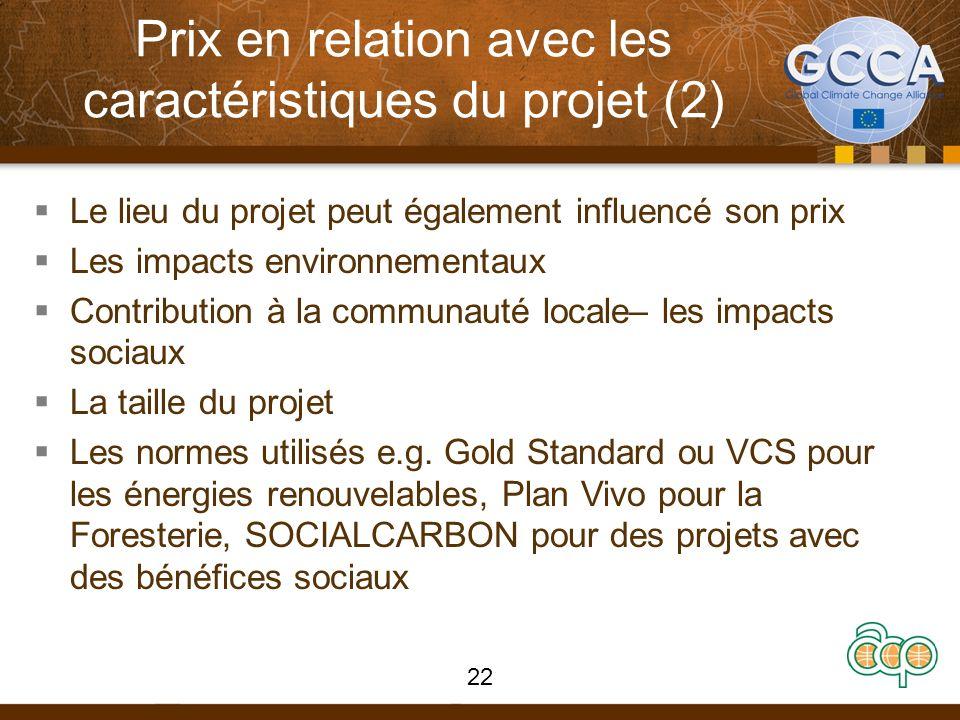 Prix en relation avec les caractéristiques du projet (2) Le lieu du projet peut également influencé son prix Les impacts environnementaux Contribution