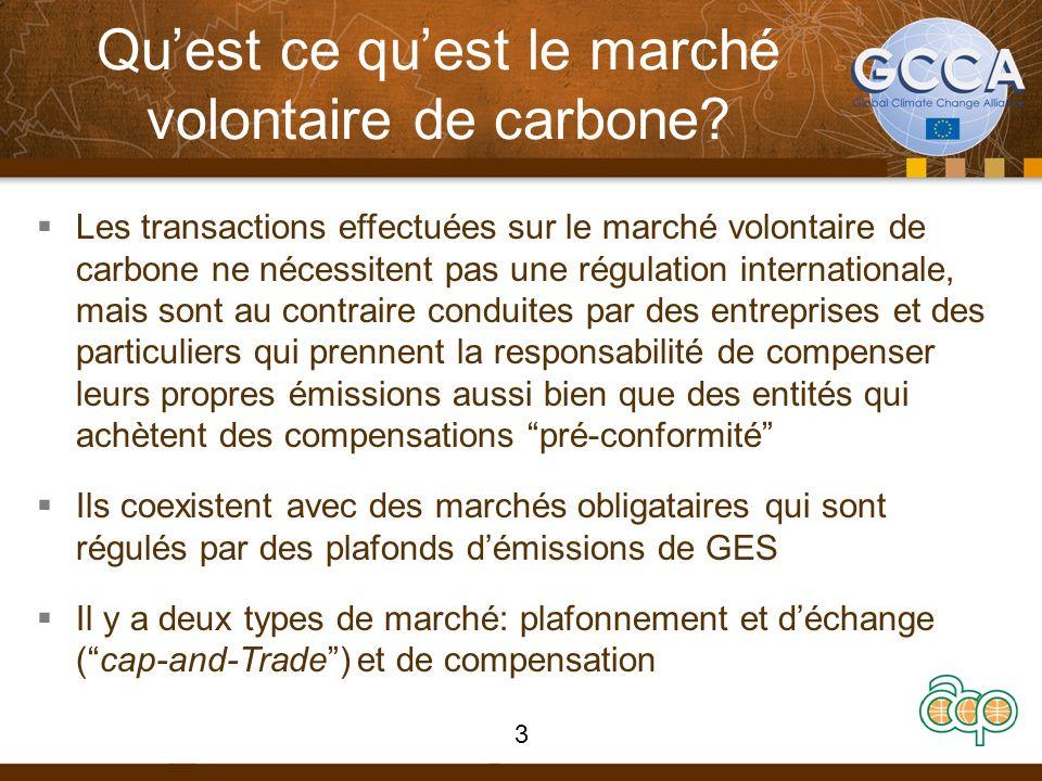 Quest ce quest le marché volontaire de carbone? Les transactions effectuées sur le marché volontaire de carbone ne nécessitent pas une régulation inte
