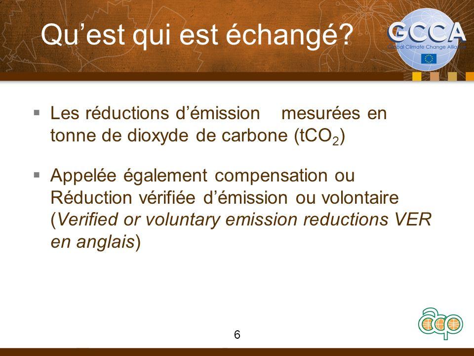 Quest qui est échangé? Les réductions démission mesurées en tonne de dioxyde de carbone (tCO 2 ) Appelée également compensation ou Réduction vérifiée