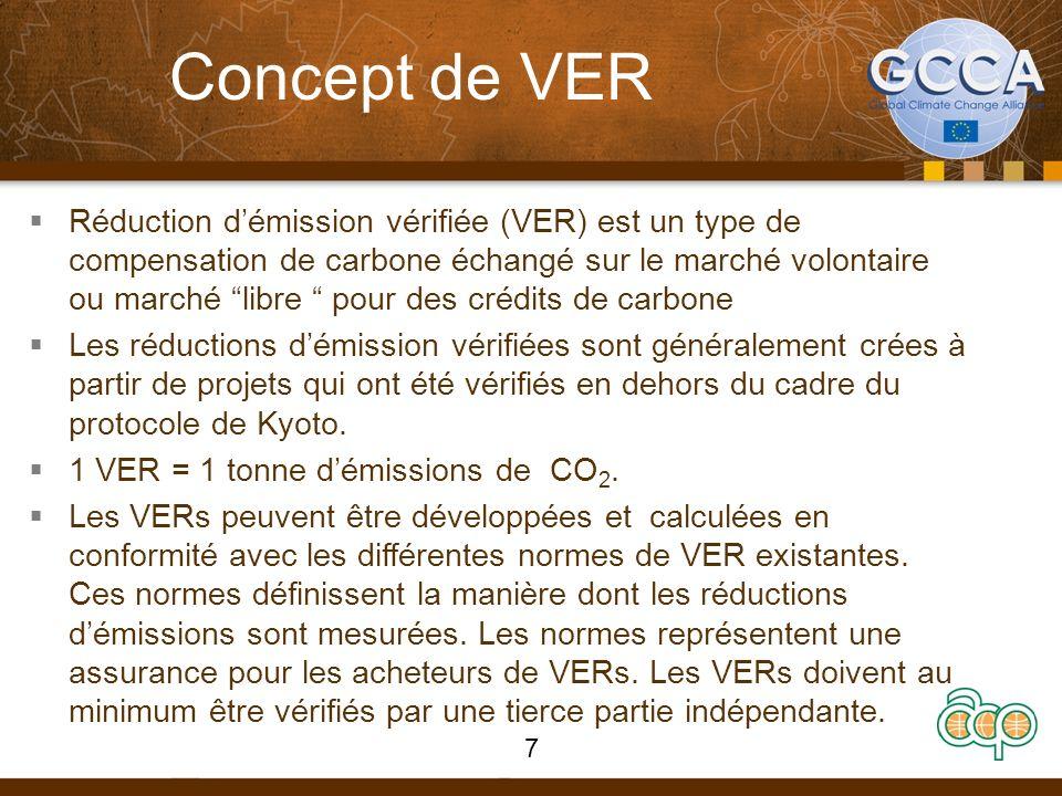 Concept de VER Réduction démission vérifiée (VER) est un type de compensation de carbone échangé sur le marché volontaire ou marché libre pour des cré