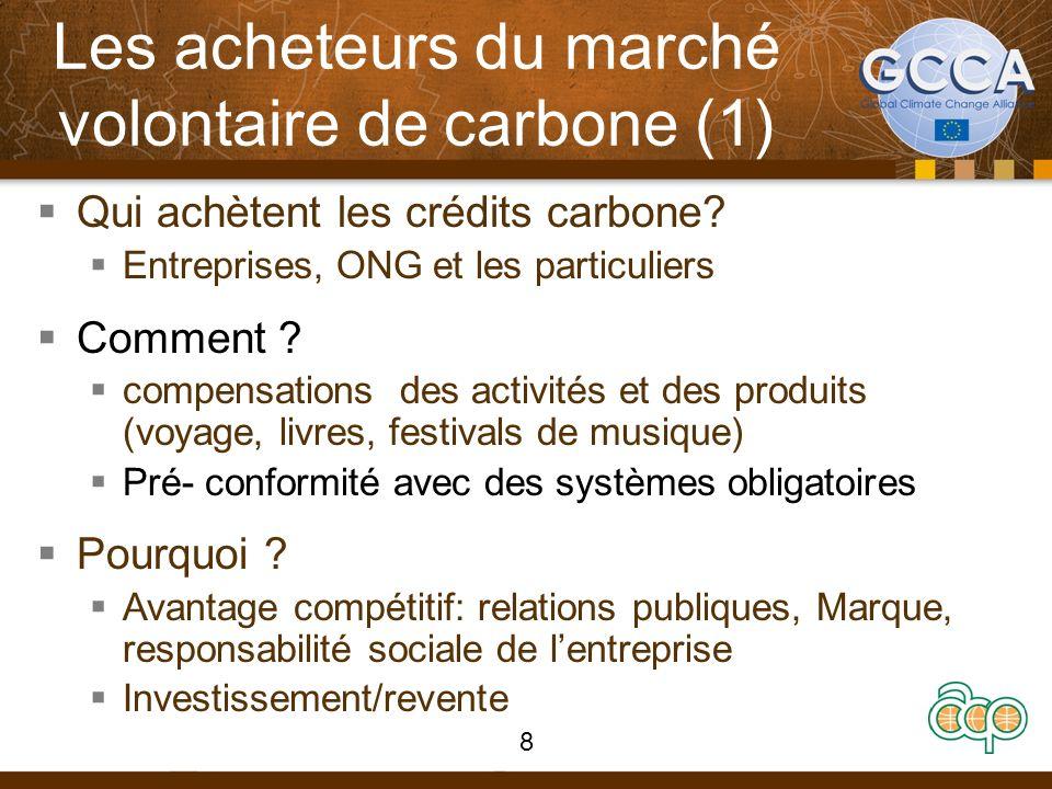 Les acheteurs du marché volontaire de carbone (1) Qui achètent les crédits carbone? Entreprises, ONG et les particuliers Comment ? compensations des a