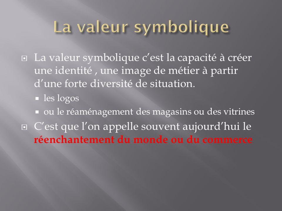 La valeur symbolique cest la capacité à créer une identité, une image de métier à partir dune forte diversité de situation. les logos ou le réaménagem