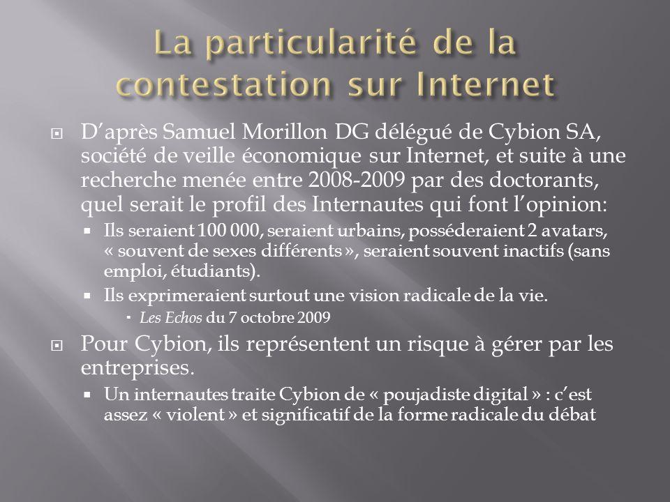 Daprès Samuel Morillon DG délégué de Cybion SA, société de veille économique sur Internet, et suite à une recherche menée entre 2008-2009 par des doct