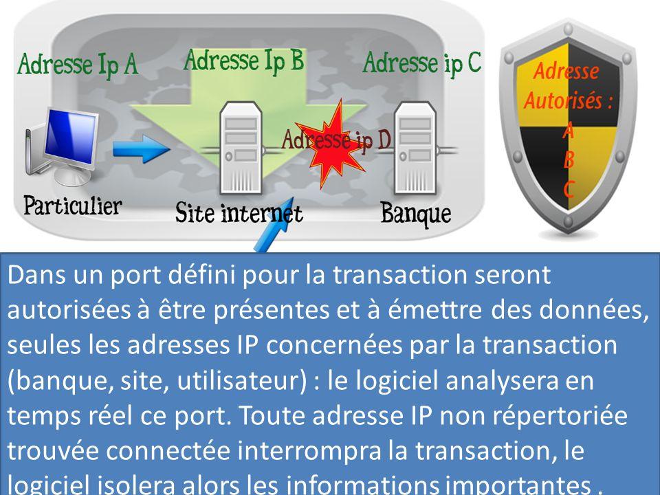 Dans un port défini pour la transaction seront autorisées à être présentes et à émettre des données, seules les adresses IP concernées par la transaction (banque, site, utilisateur) : le logiciel analysera en temps réel ce port.
