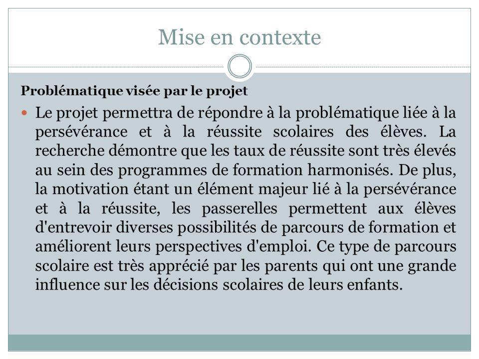 Mise en contexte Problématique visée par le projet Le projet permettra de répondre à la problématique liée à la persévérance et à la réussite scolaire