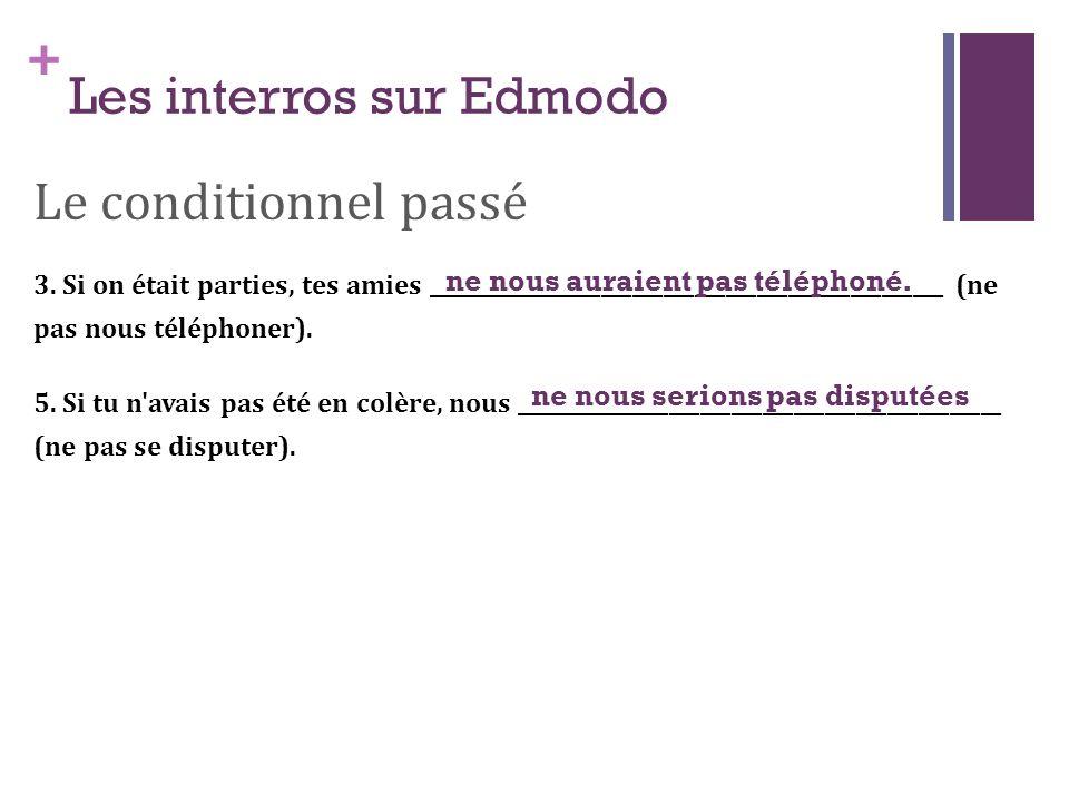+ Les interros sur Edmodo Le conditionnel passé 3. Si on était parties, tes amies __________________________________________________ (ne pas nous télé
