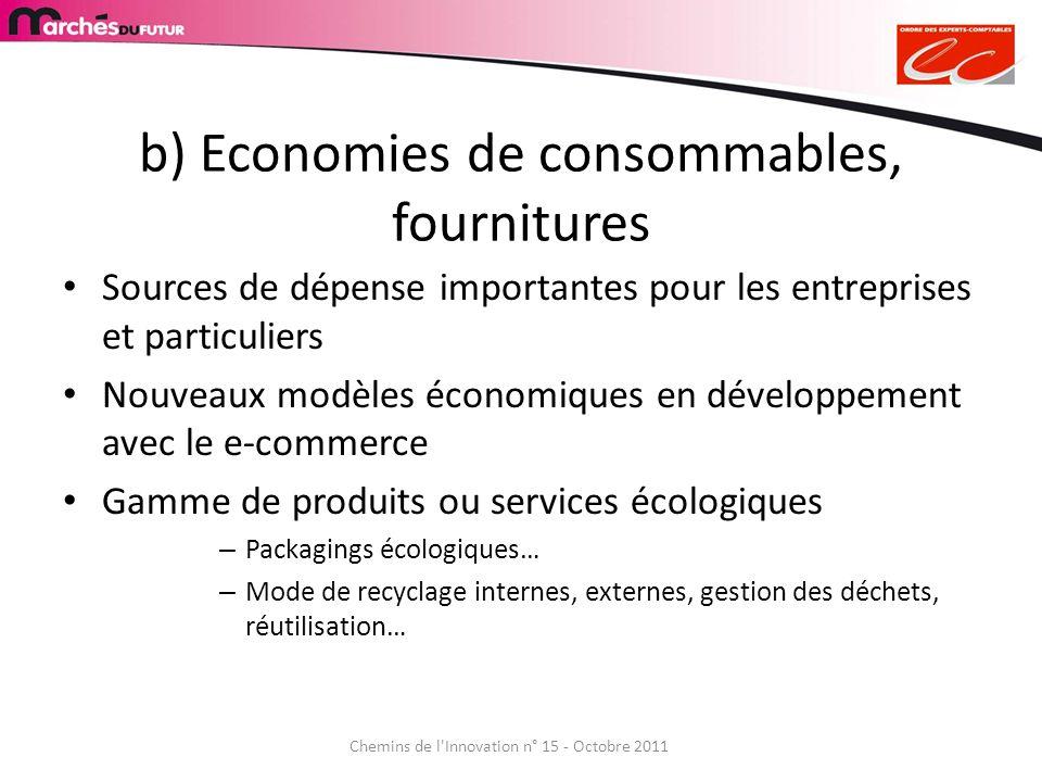 b) Economies de consommables, fournitures Sources de dépense importantes pour les entreprises et particuliers Nouveaux modèles économiques en développ