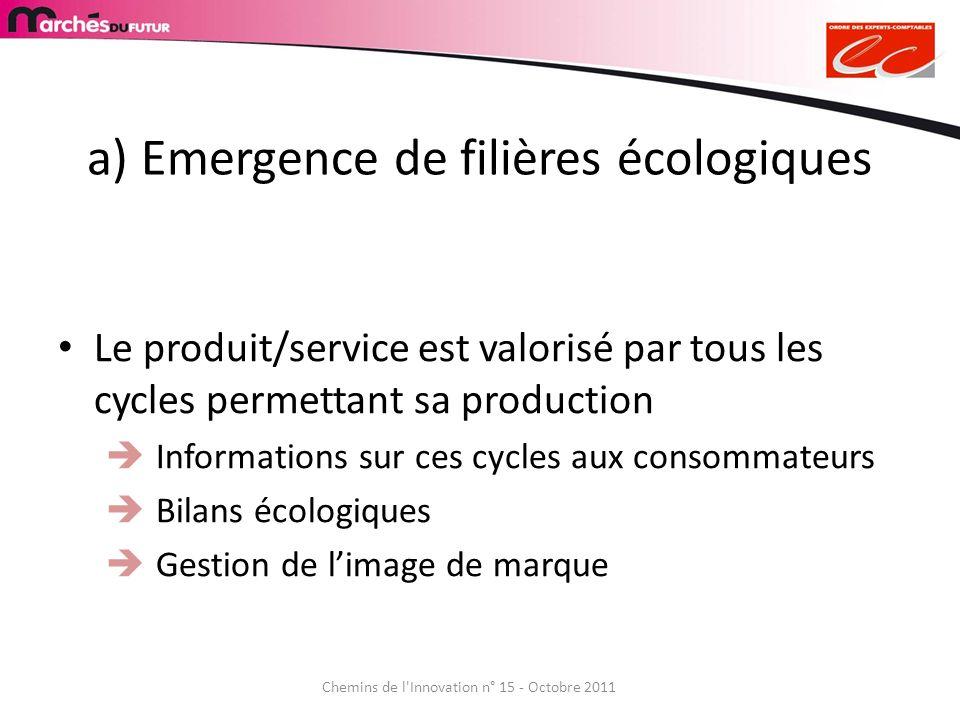 a) Emergence de filières écologiques Le produit/service est valorisé par tous les cycles permettant sa production Informations sur ces cycles aux cons