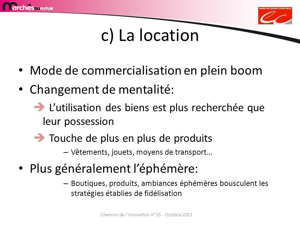 c) La location Mode de commercialisation en plein boom Changement de mentalité: Lutilisation des biens est plus recherchée que leur possession Touche
