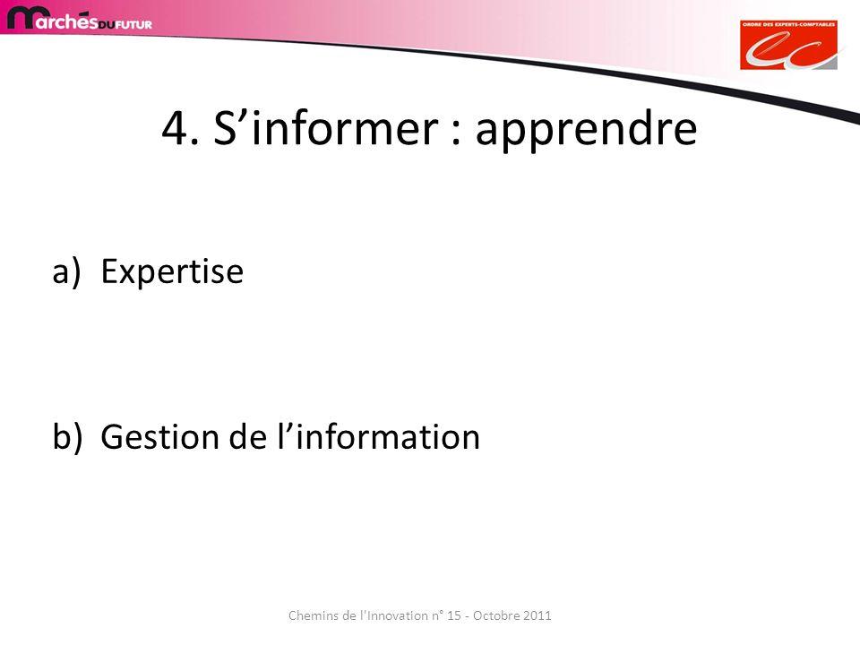 4. Sinformer : apprendre a)Expertise b)Gestion de linformation Chemins de l'Innovation n° 15 - Octobre 2011