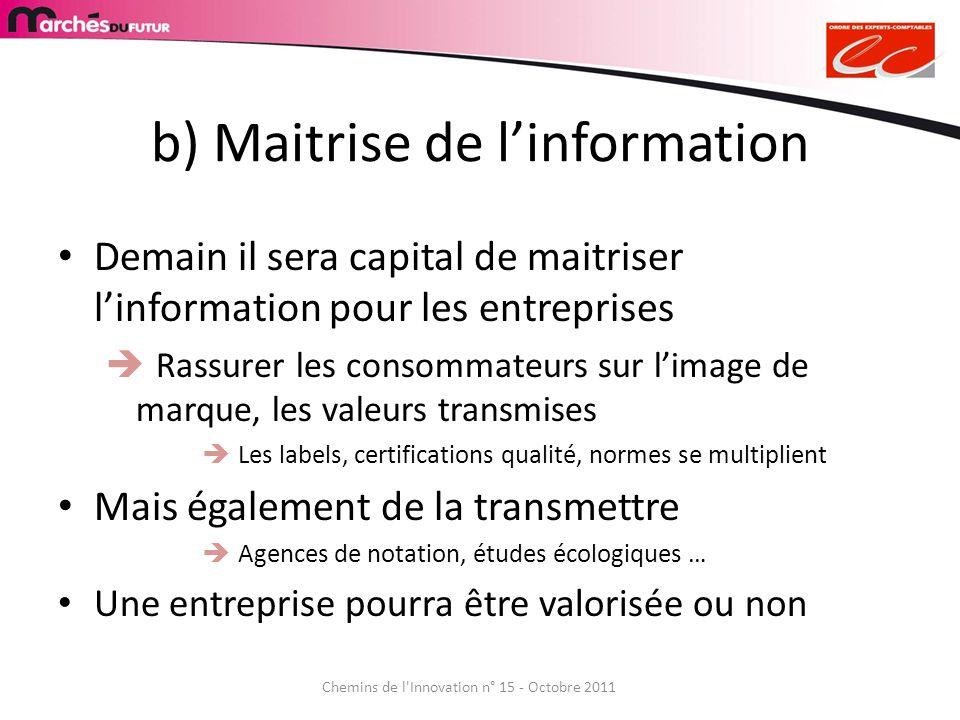 b) Maitrise de linformation Demain il sera capital de maitriser linformation pour les entreprises Rassurer les consommateurs sur limage de marque, les