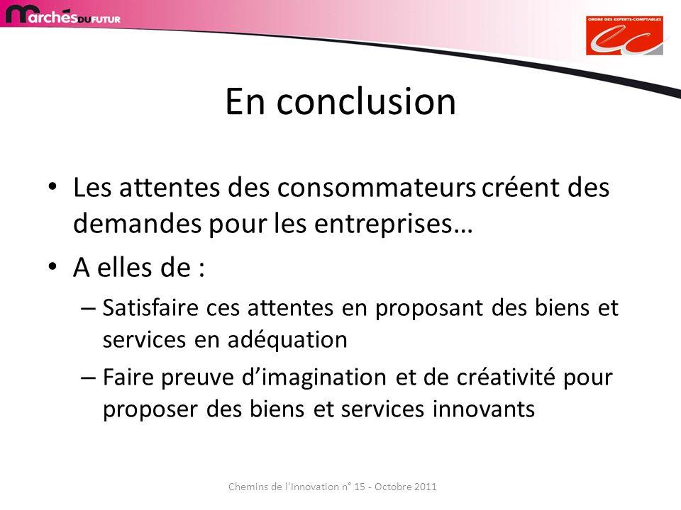 Chemins de l'Innovation n° 15 - Octobre 2011 En conclusion Les attentes des consommateurs créent des demandes pour les entreprises… A elles de : – Sat