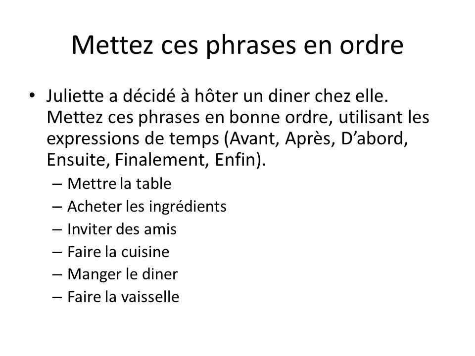 Mettez ces phrases en ordre Juliette a décidé à hôter un diner chez elle. Mettez ces phrases en bonne ordre, utilisant les expressions de temps (Avant