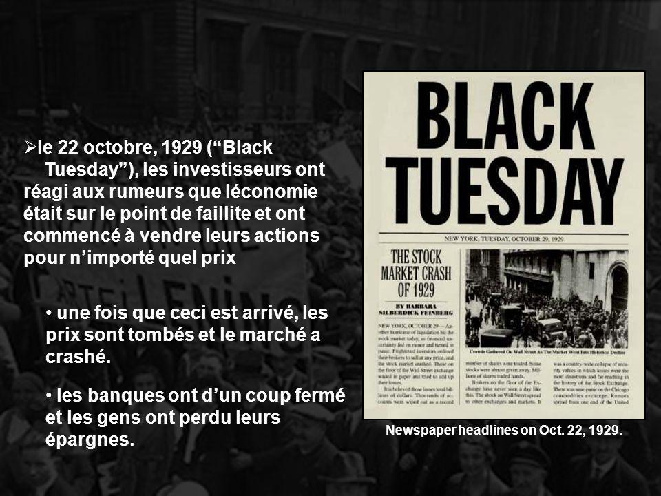 le 22 octobre, 1929 (Black Tuesday), les investisseurs ont réagi aux rumeurs que léconomie était sur le point de faillite et ont commencé à vendre leu