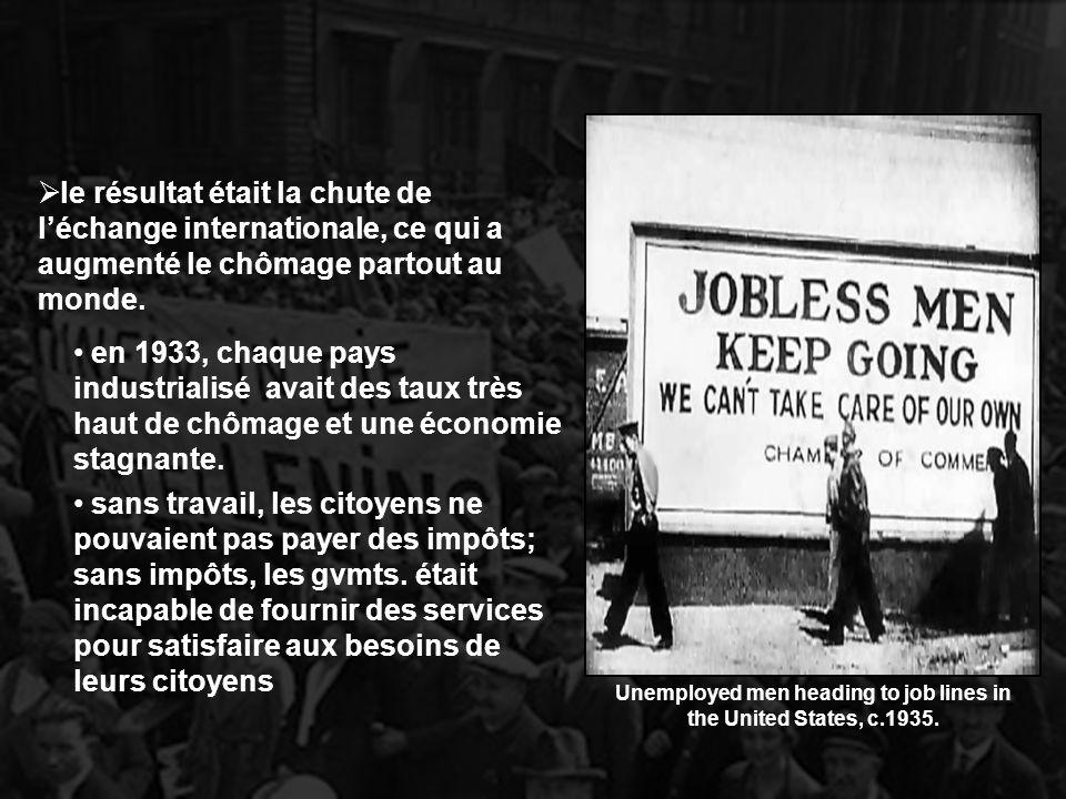 le résultat était la chute de léchange internationale, ce qui a augmenté le chômage partout au monde. en 1933, chaque pays industrialisé avait des tau