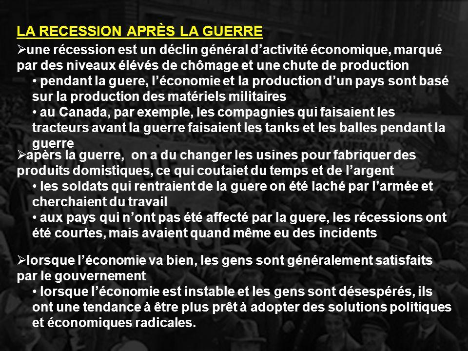 une récession est un déclin général dactivité économique, marqué par des niveaux élévés de chômage et une chute de production pendant la guere, lécono