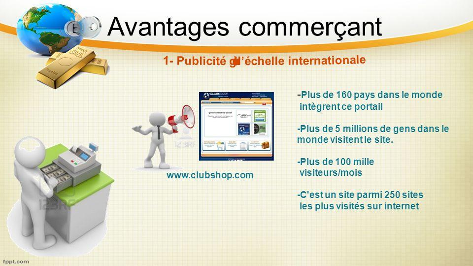 Avantages commerçant www.clubshop.com - Plus de 160 pays dans le monde intègrent ce portail -Plus de 5 millions de gens dans le monde visitent le site