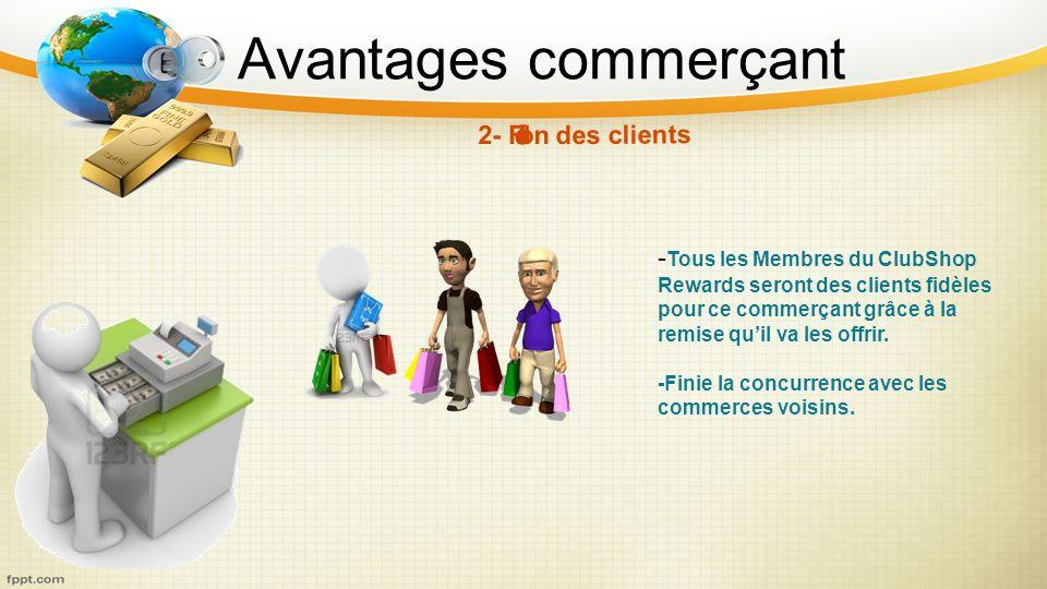 Avantages commerçant - Tous les Membres du ClubShop Rewards seront des clients fidèles pour ce commerçant grâce à la remise quil va les offrir. -Finie