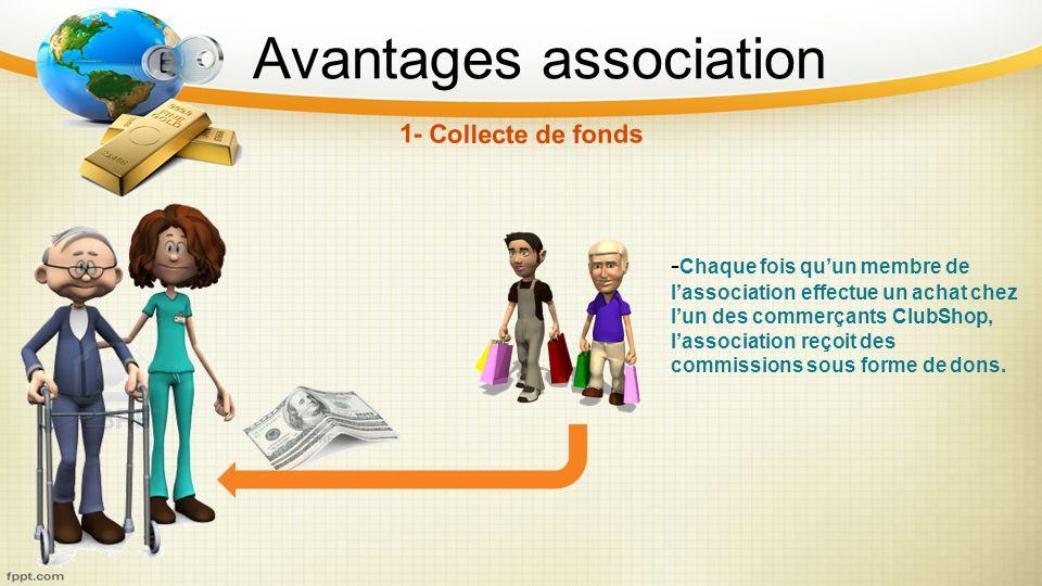 Avantages association - Chaque fois quun membre de lassociation effectue un achat chez lun des commerçants ClubShop, lassociation reçoit des commissio