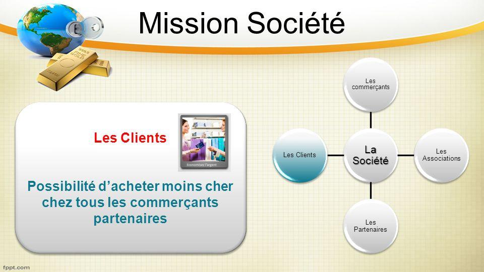 Mission Société La Société Les commerçants Les Associations Les Partenaires Les Clients Possibilité dacheter moins cher chez tous les commerçants part