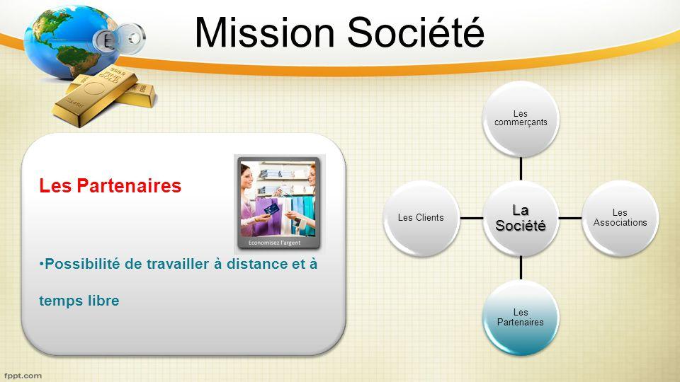 Mission Société La Société Les commerçants Les Associations Les Partenaires Les Clients Les Partenaires Possibilité de travailler à distance et à temp
