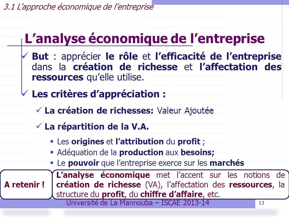 13 Lanalyse économique de lentreprise But : apprécier le rôle et lefficacité de lentreprise dans la création de richesse et laffectation des ressources quelle utilise.