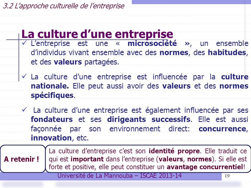 19 La culture dune entreprise Lentreprise est une « microsociété », un ensemble dindividus vivant ensemble avec des normes, des habitudes, et des valeurs partagées.